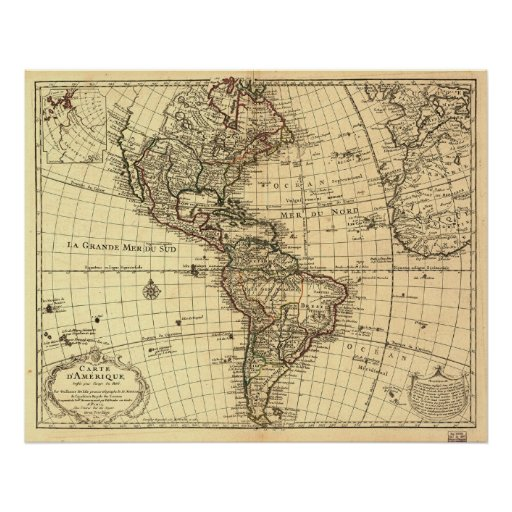 Old Map of Western Hemisphere. French 1780 Poster