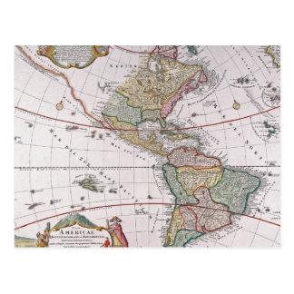 Old map postcard