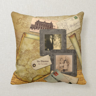 Old Map Postcard Paper Collage Vintage Photo Frame Pillow