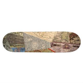 Old Maps Collage Skateboard Deck