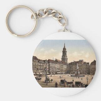 Old Market, Altstadt, Dresden, Saxony, Germany mag Keychain