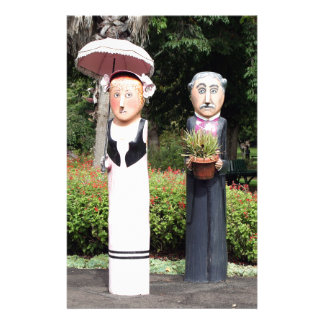 Old married couple sculptures stationery