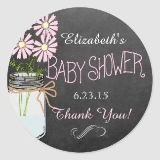 Old Mason Jar With Pink Flowers Baby Shower Classic Round Sticker