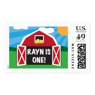 Old McDonald Barn First Birthday Postage Stamp