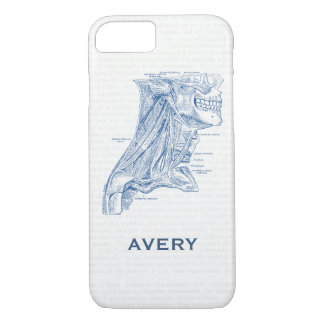 Old Medical Drawing Muscles of the Neck Blue iPhone 8/7 Case