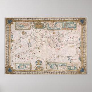 Old Mediterranean sea map Impresiones