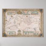 Old Mediterranean sea map Poster