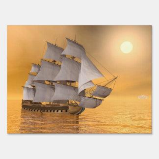 Old merchant ship - 3D Render Lawn Sign