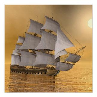 Old merchant ship - 3D Render Poster