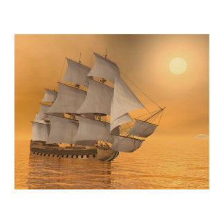 Old merchant ship - 3D Render Wood Print