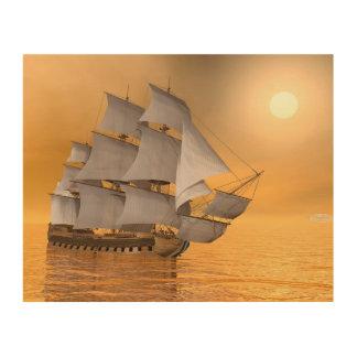 Old merchant ship - 3D Render Wood Wall Art