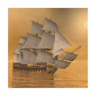 Old merchant ship - 3D Render Wood Wall Decor
