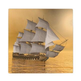 Old merchant ship - 3D Render Wooden Coaster