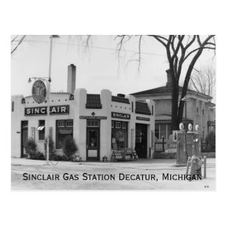 Old Michigan Gas Station Postcard
