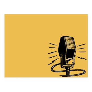 Old microphone postcard