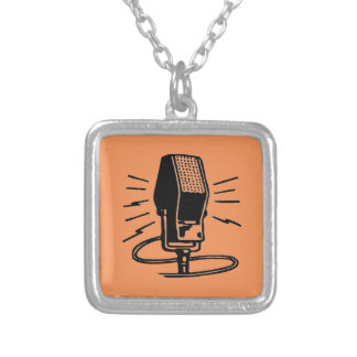 Old microphone silver plated necklace