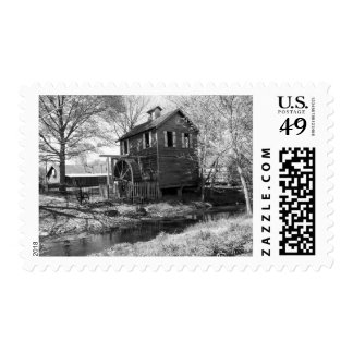 Old Mill and Creek Postage Stamp