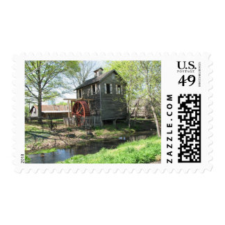 Old Mill and Creek Postage Stamps