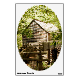 Old Mill and Waterwheel Oval Shape Wall Decal