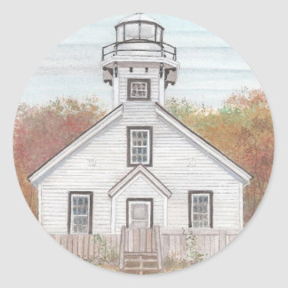 Old Mission Point Light House Classic Round Sticker