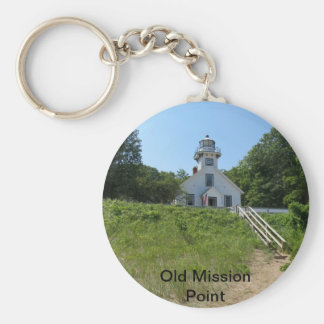 Old Mission Point Lighthouse Basic Round Button Keychain