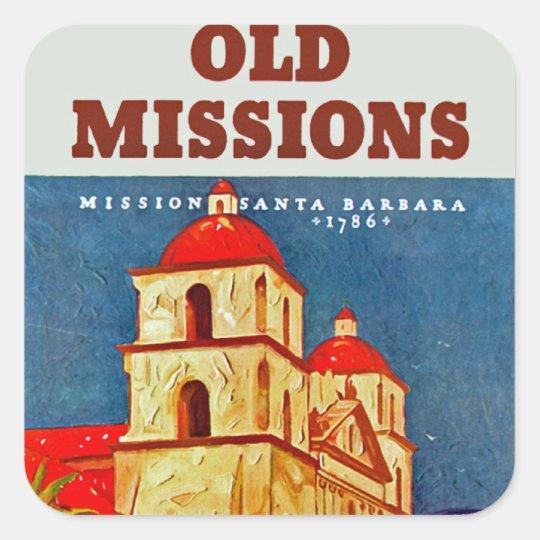 Old Missions ~ Santa Barbara Square Sticker