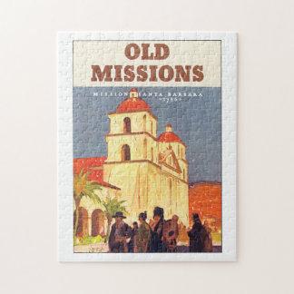 Old Missions Santa Barbara Vintage Travel Poster Jigsaw Puzzle