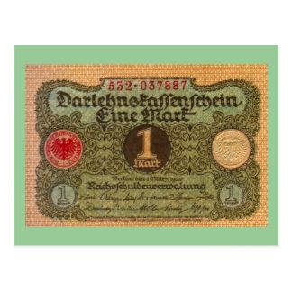 Old Money: 1 German Mark Postcard