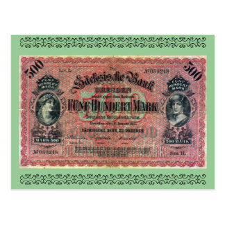 Old Money: 500 German Mark Postcard