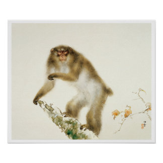 Old Monkey with Cherry in Autumn Poster