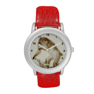 Old Monkey with Cherry in Autumn Wrist Watch