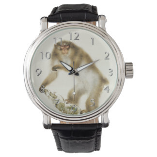 Old Monkey with Cherry in Autumn Wristwatch