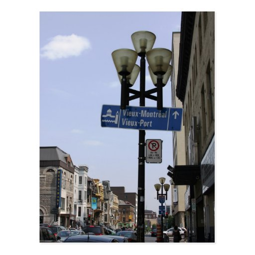 Old Montreal Street Sign Postcard