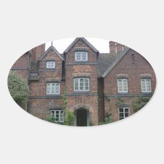 Old Moseley Hall 17th Century English Farmhouse Oval Sticker