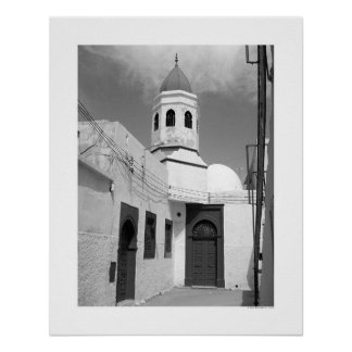 Old Mosque in Tripoli (B&W) Poster