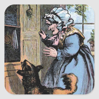 Old Mother Hubbard and her Dog Square Stickers