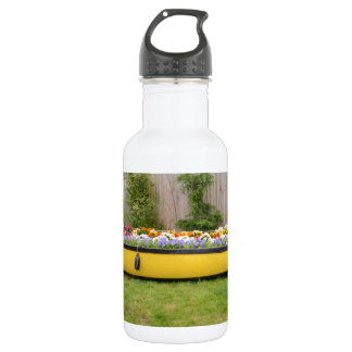Old Motor Boat With Flowers Stainless Steel Water Bottle