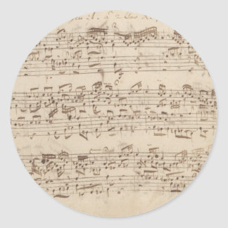 Old Music Notes - Bach Music Sheet Classic Round Sticker
