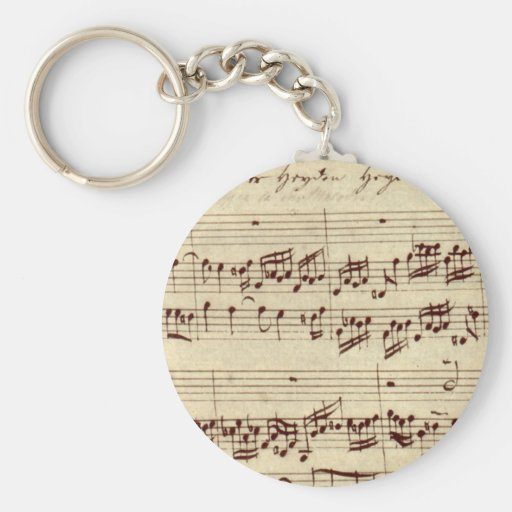 Old Music Notes - Bach Music Sheet Keychain