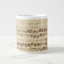 Old Music Notes - Bach Music Sheet Large Coffee Mug