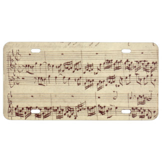 Old Music Notes - Bach Music Sheet License Plate