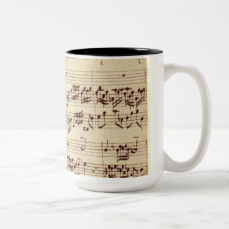 Old Music Notes - Bach Music Sheet Two-Tone Coffee Mug