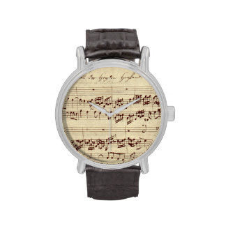Old Music Notes - Bach Music Sheet Wrist Watches