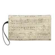 Old Music Notes - Chopin Music Sheet Wristlet Clutch