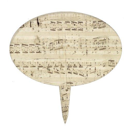 Old Music Notes - Chopin Music Sheet Cake Picks