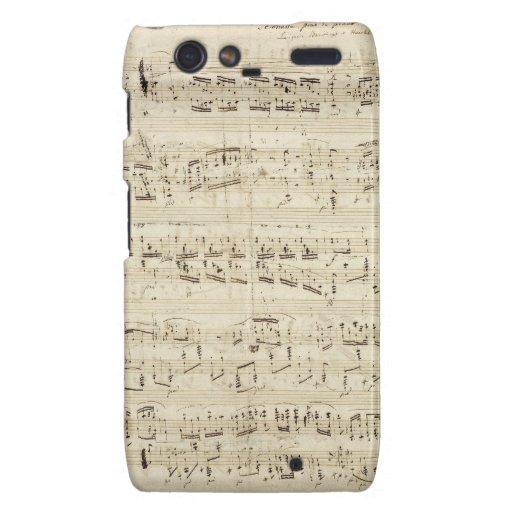 Old Music Notes - Chopin Music Sheet Motorola Droid RAZR Cases
