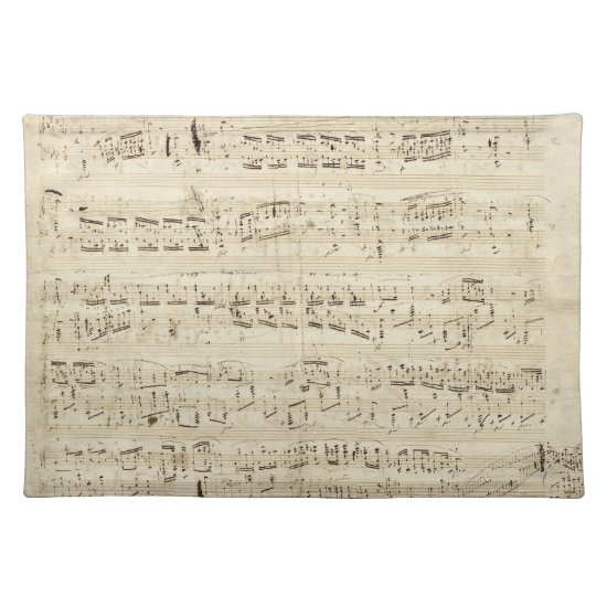 Old Music Notes - Chopin Music Sheet Cloth Placemat