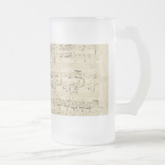 Old Music Notes - Chopin Music Sheet Frosted Glass Beer Mug