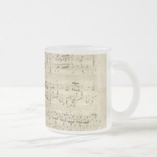 Old Music Notes - Chopin Music Sheet Frosted Glass Coffee Mug