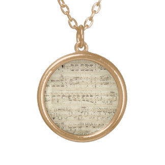 Old Music Notes - Chopin Music Sheet Gold Plated Necklace